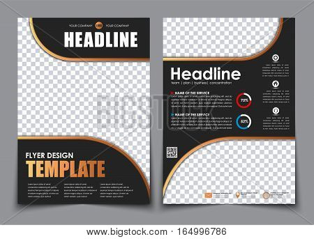 Template 2 A4 Pages In Black With Bronze Elements.