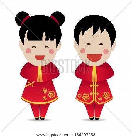 Cute Chinese boy and girl Standing respect vector design