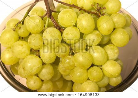 Green bunch of grapes in semitransparent glass bowl isolated on white closeup