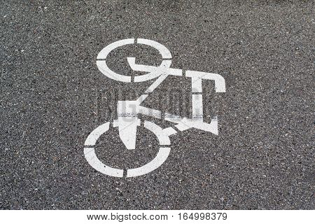 White mark bicycle lane on a gray pavement close-up