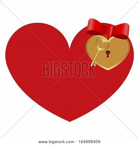 icon red heart with a lock and a Golden key on white background. cute pattern to decorate or congratulations for a wedding or Valentine's day.vector illustration.