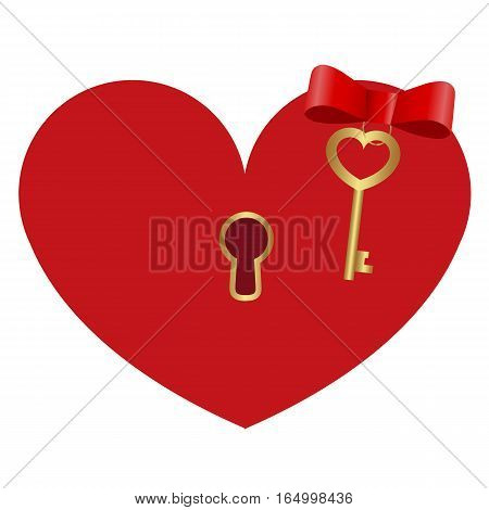 icon red heart shaped lock with a Golden key on white background. cute pattern to decorate or congratulations for a wedding or Valentine's day.vector illustration.