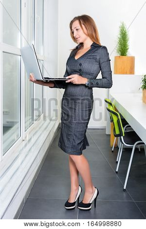 Young successful businesswoman with laptop computer standing near the window. Woman using tablet computer. Business, technology and green office concept.