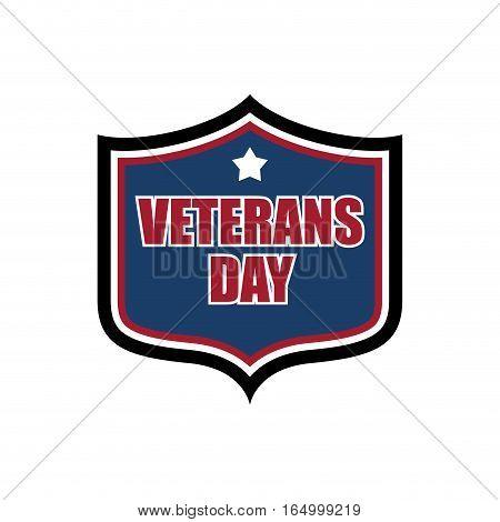 Veterans Day Shield Emblem. Us Military Holidayl Logo