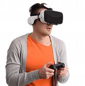 Man With Virtual Reality Headset poster