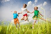 stock photo of children playing  - Mother with children Having Fun in the field - JPG