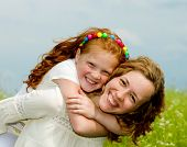 foto of summer fun  - Mom and Daughter Having Fun - JPG