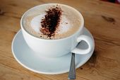 pic of hot-chocolate  - A delicious cup of coffee with a sprinkling of chocolate - JPG