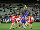 MELBOURNE - SEPTEMBER 12: Josh Hill soars over a pack to mark and goal in the AFL second semi final