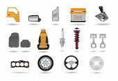 Car parts vector illustrations