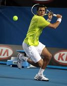 MELBOURNE, AUSTRALIA - JANUARY 23: Jo-Wilfried Tsonga of France in his third round match against Tom