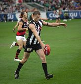 MELBOURNE - APRIL 25: Collingwood's Heath Scotland kicks the ball in  Collingwood's massive win over