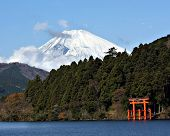 stock photo of mount fuji  - Mount Fuji and Lake Ashi - JPG