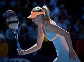 MELBOURNE - JANUARY 19: Maria Sharapova of Russia in her second round win over Virginie Razzano of F