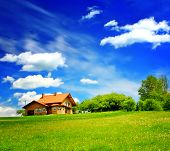 picture of barn house  - House on green hill - JPG