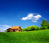 image of blue sky  - New house on blue sky - JPG