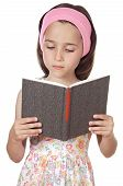 pic of girl reading book  - adorable girl reading a book a over white background - JPG