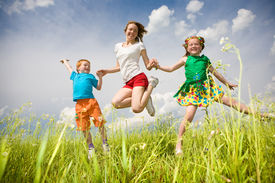 image of children playing  - Mother with children Having Fun in the field - JPG