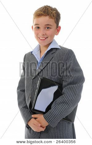 Happy little boy with laptop.