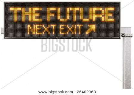 "3d rendering of a modern digital highway sign with ""THE FUTURE"" written on it"