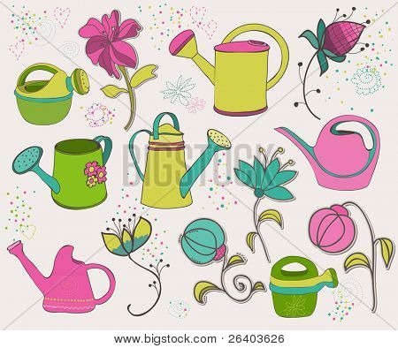 Spring design elements with watering can