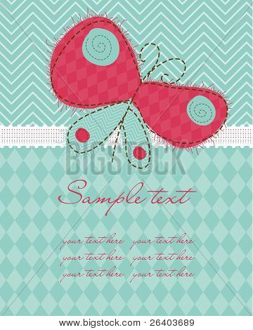 Greeting baby card with Butterfly