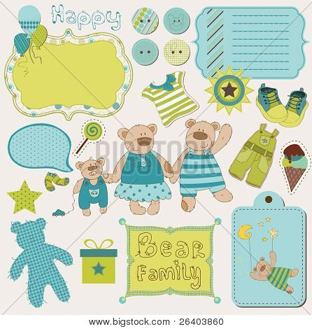 Bear Family Baby Scrap - big set of design elements