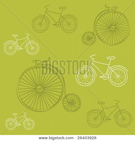 Seamless background with Retro Bicycles - for design and scrapbook
