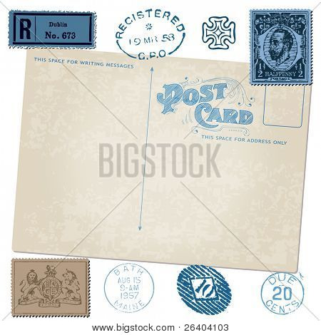 Antique postcard in vector with Postal stamps