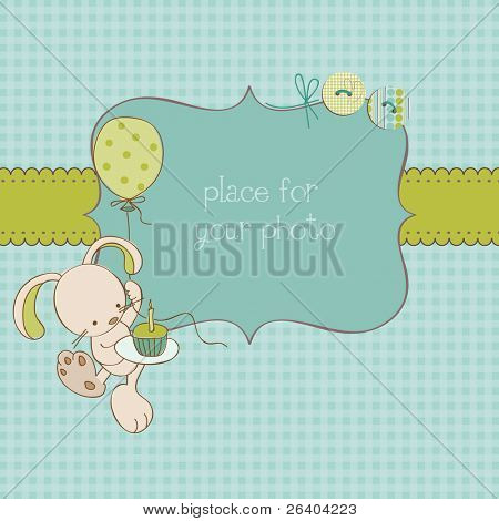 Baby Greeting Card with Photo Frame and place for your text in vector