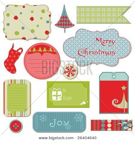 Set of Christmas Tags and Elements - for design and scrapbook in vector