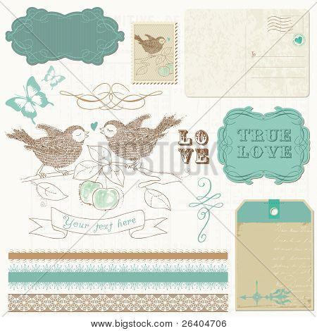 Scrapbook design elements - Birds in love
