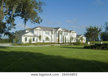 Massively large custom home or mansion with grand lawn and landscaping.