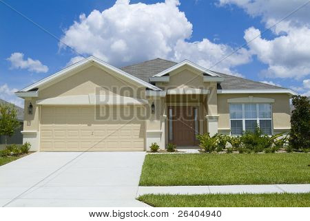 Home with blue sky and clouds background 11