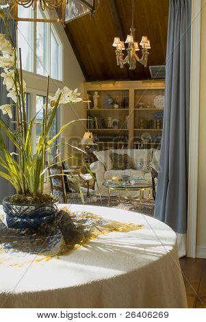 Elegant sunlit traditional living room