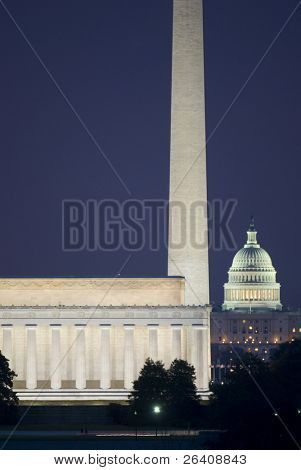 Washington Mall Lincoln Capitol Night Monument DC travel series 23