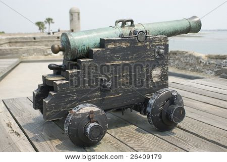 Spanish American fortress cannon on top fort deck - series 01