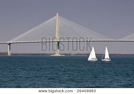 Cooper River Bridge with sailboat Charleston South Carolina