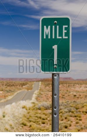 Mile 1 one marker on desert highway