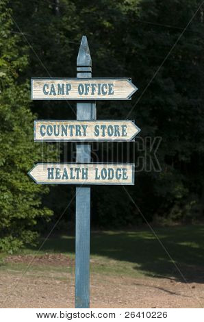 Summer camp sign post
