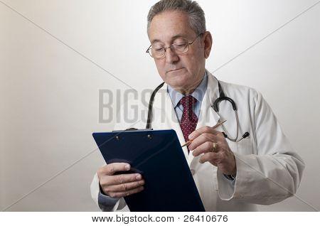 Hispanic doctor physician taking notes