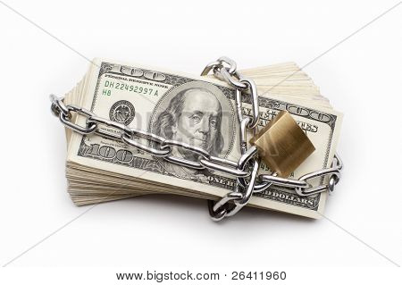 Safe secure chain locked stack of hundred dollar bills