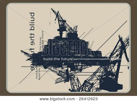 original background-artistic industrial retro futuristic vector illustration,color and size as you wish