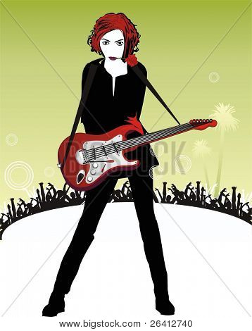 beautyful girl in black with red hair with a rose in her mouth playing the guitar on the stage ,behind her the crowd ovating