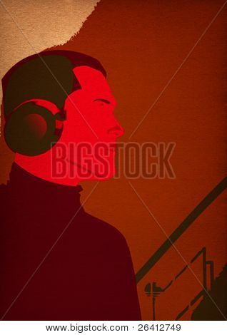 man listening musik with headphone ,photoshop illustration
