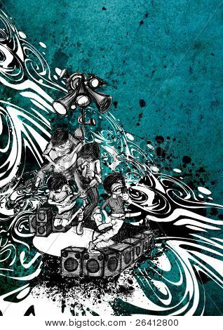 artistic hand drawed illustration rock band performance on the stage,abstract grunge background,party print design just put your text