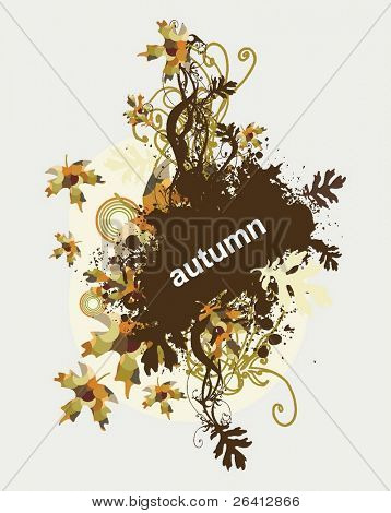 abstract autumn floral flyer design with grunge elements and faded leaves