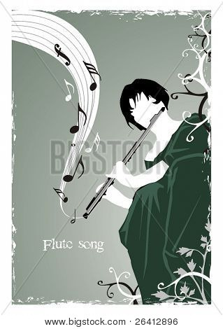 stylistic  vector illustration describing a girl playing a song on a flute in the garden,grunge frame, floral elements & flying musical notes