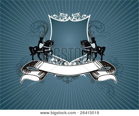 heraldischen Schild und Banner, nur Anzeige Ihr Text, Vektor-Illustration
