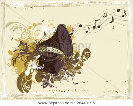 music background-retro gramophone on eroded grunge paper & floral ornaments,vector illustration